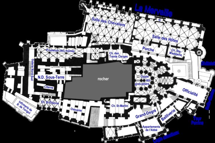 Plans de l 39 abbaye du mont saint michel wikimanche for Mont saint michel interieur