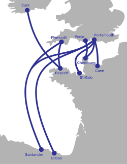 Brittany ferries route map.svg
